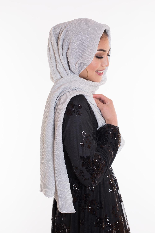 Hijab plissé de fête argenté
