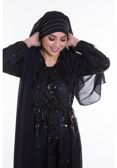 Hijab enfilable strass noir