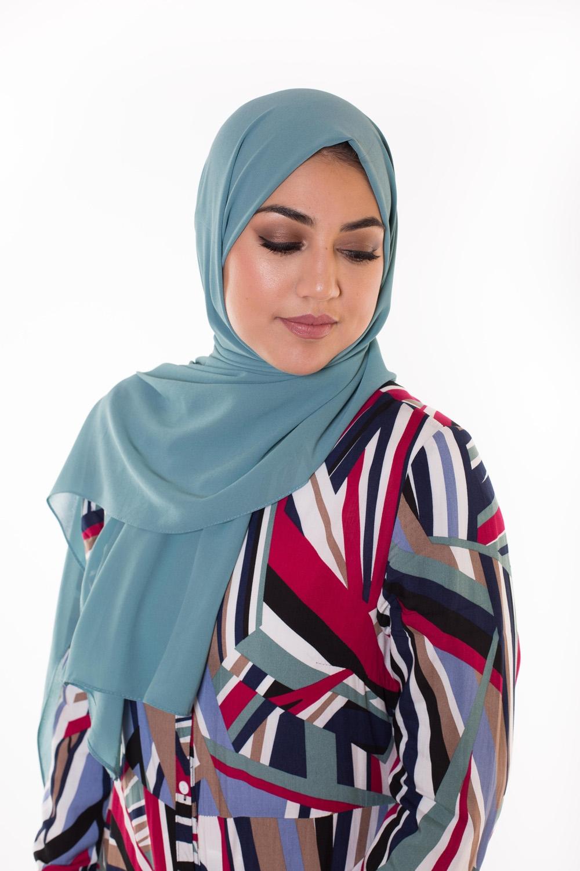 Hijab Mousseline bleu azur