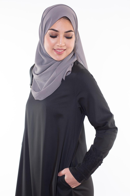 Hijab Mousseline gris foncé