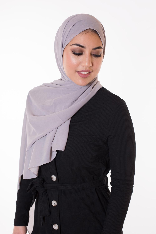 Hijab Mousseline gris clair