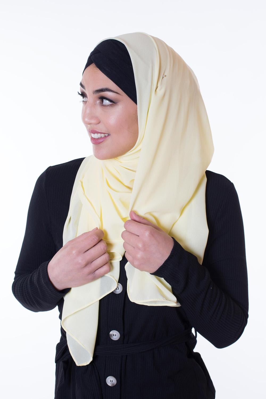 Hijab Mousseline jaune pastel