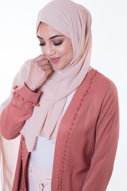 Hijab Mousseline beige rosé
