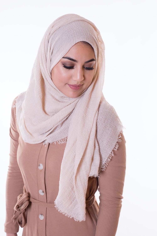 Hijab coton froissé beige