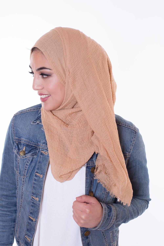 Hijab coton froissé sable