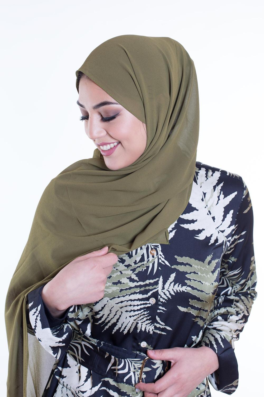 Hijab Mousseline kaki