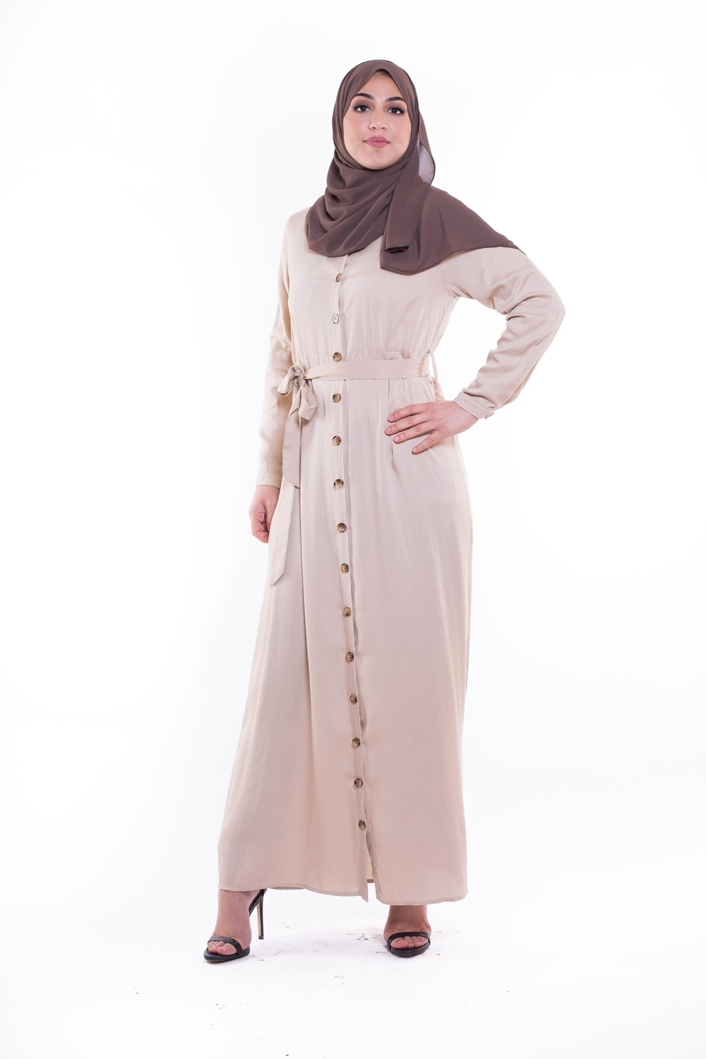 robe hijab longue beige printemps été nouvelle collection 2019 boutique hijab modeste fashion