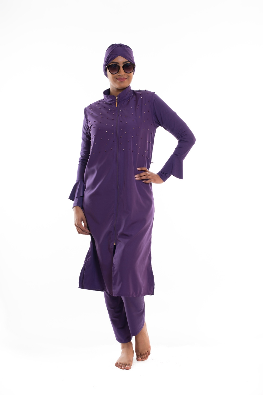 Burkini long aubergine