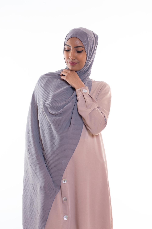 Hijab mousseline gauffré gris clair