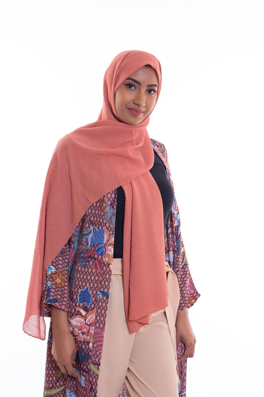 Hijab mousseline gauffré brique