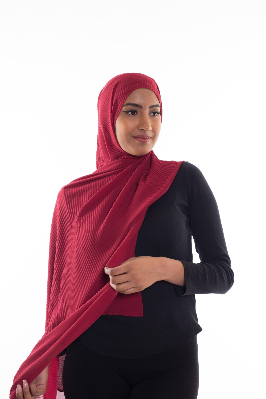 Hijab mousseline gauffré bordeau