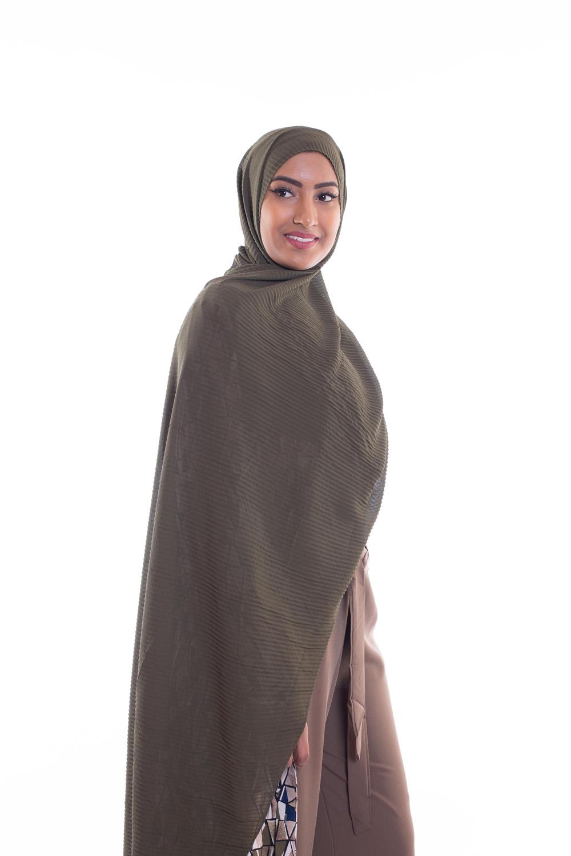 Hijab mousseline gauffré kaki