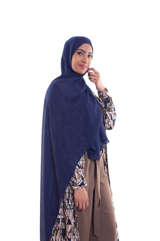 Hijab mousseline gauffré bleu