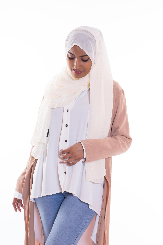 Hijab mousseline gauffré écru