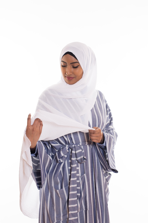 Hijab mousseline gauffré blanc