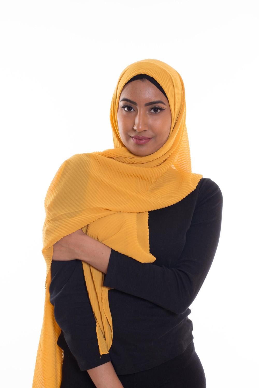Hijab mousseline gauffré moutarde