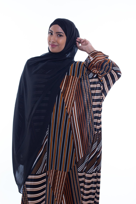 Hijab mousseline gauffré noir