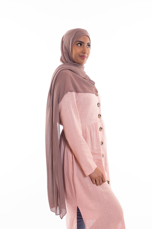Hijab mousseline gauffré taupe