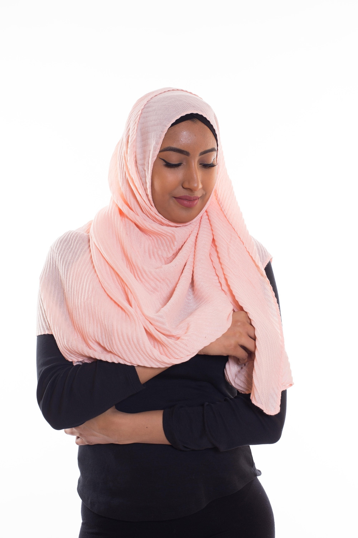 Hijab gauffré XXL rose