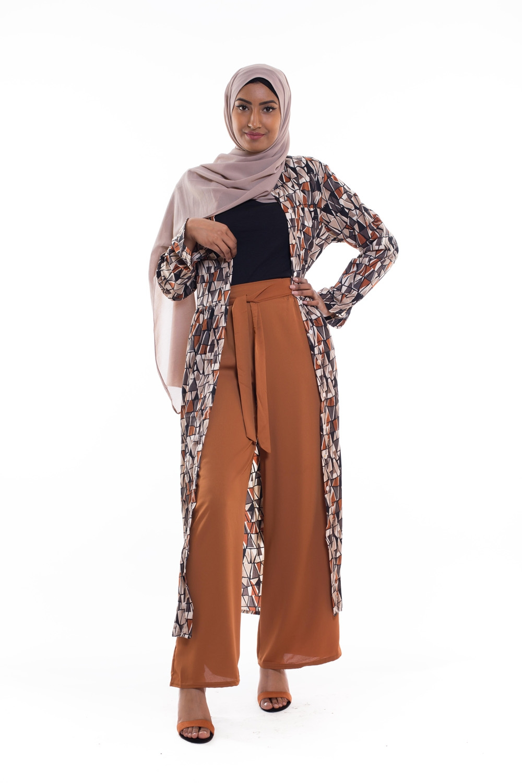 Robe chemise imprimé camel