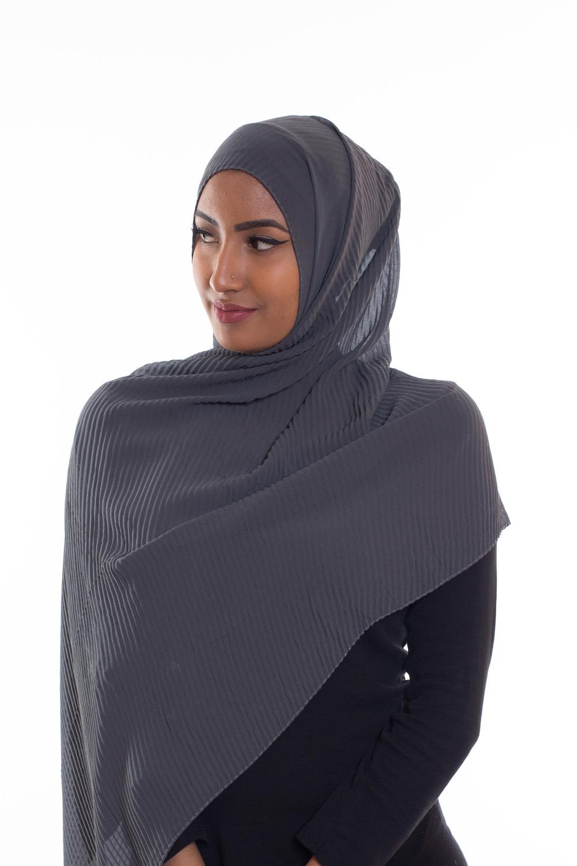 Hijab mousseline gauffré gris fonçé