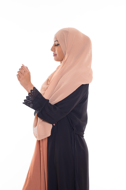 Hijab mousseline gauffré sable