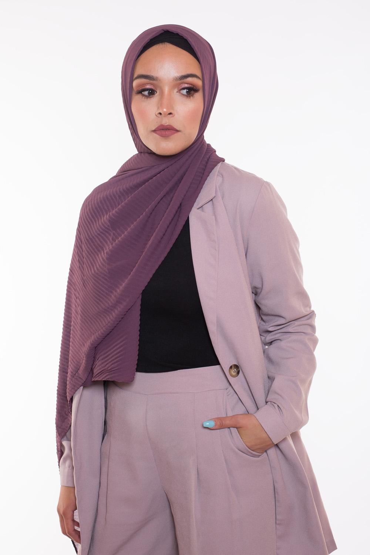 Hijab mousseline gauffré violet