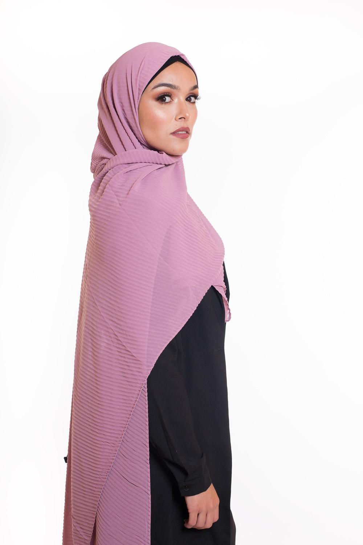 Hijab mousseline gauffré mauve