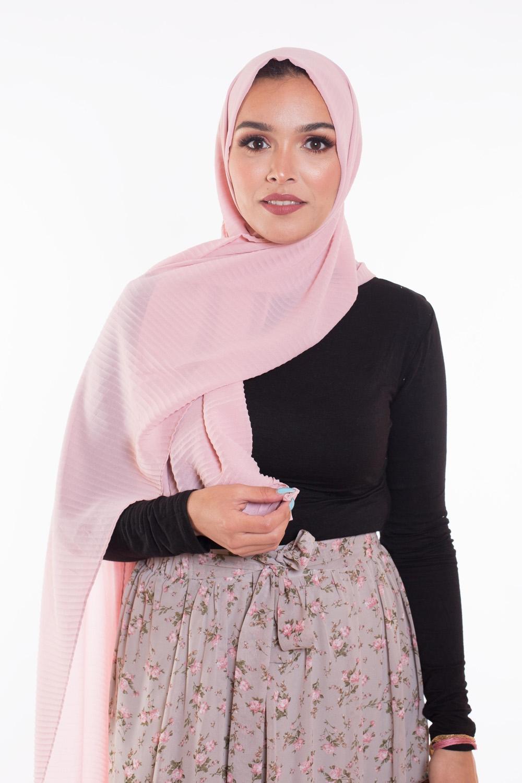Hijab mousseline gauffré rose