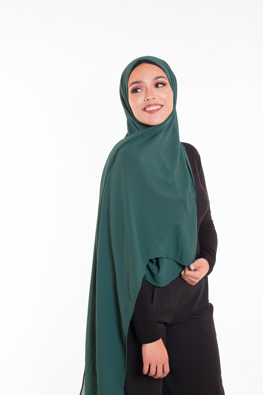 Hijab mousseline gauffré vert bouteille