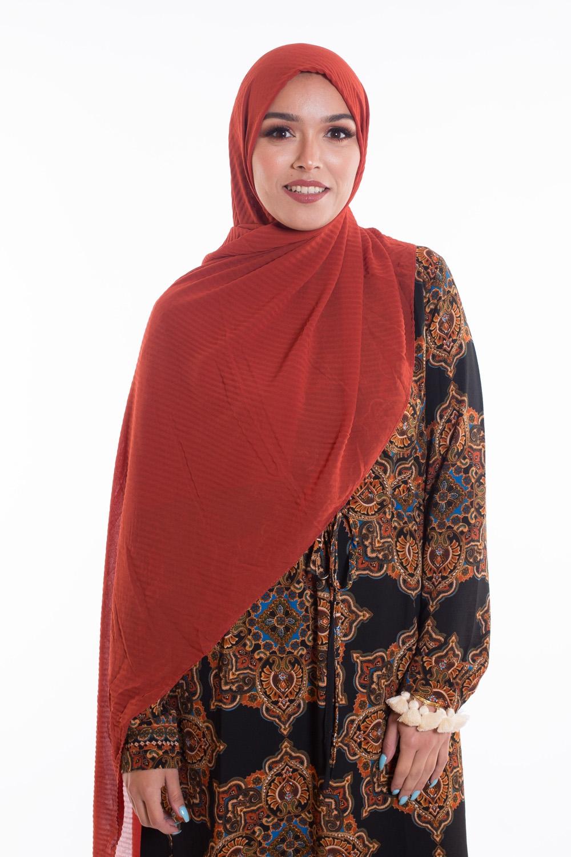 Hijab mousseline gauffré terracota