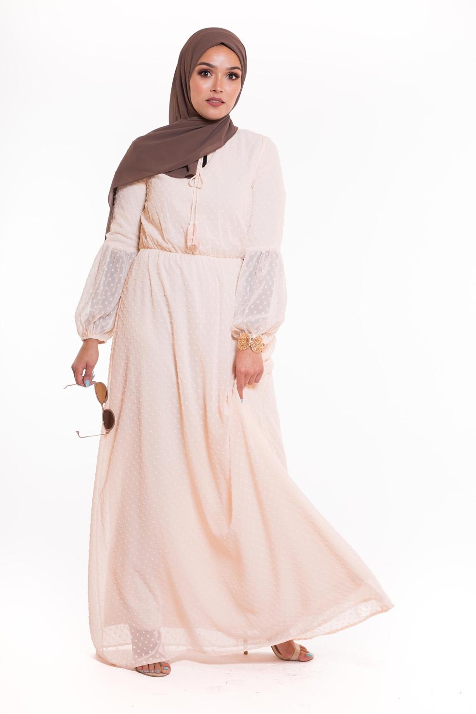 Robe bohème beige rosé