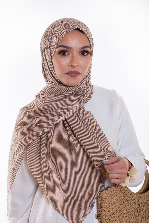 Hijab 100% coton brun
