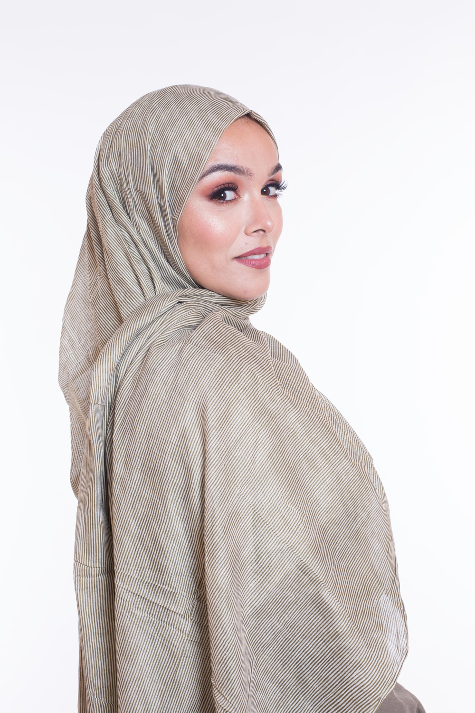 Hijab 100% coton kaki