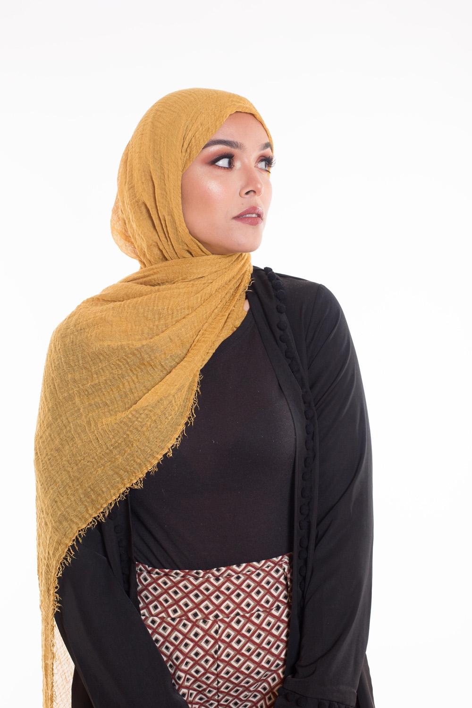 Hijab coton froissé moutarde
