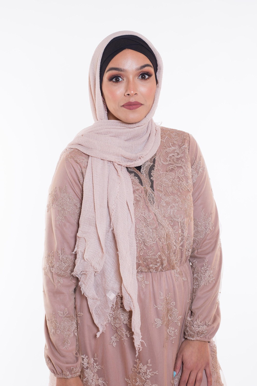 Hijab coton froissé paillette beige rosé