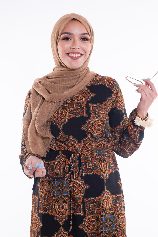 Hijab coton froissé paillette camel