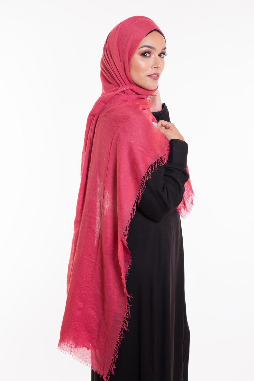 Hijab coton froissé paillette framboise