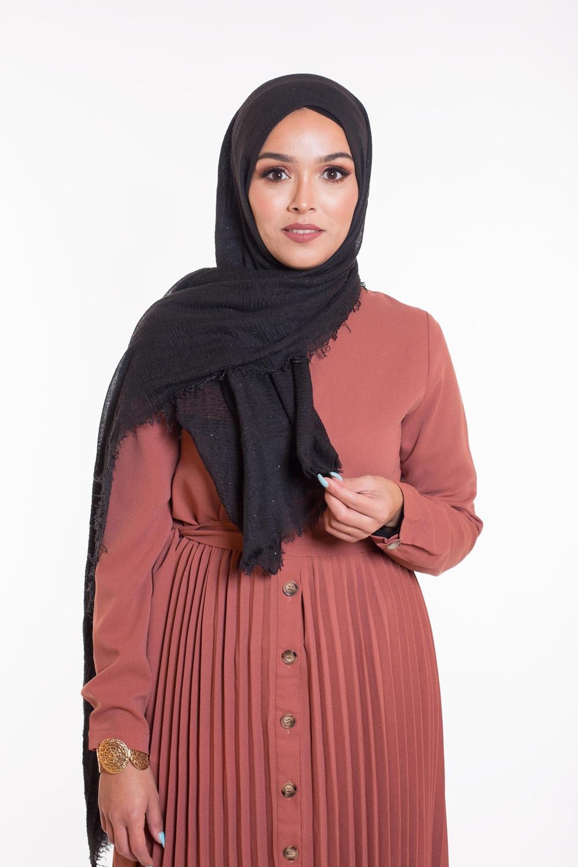 Hijab coton froissé paillette noir