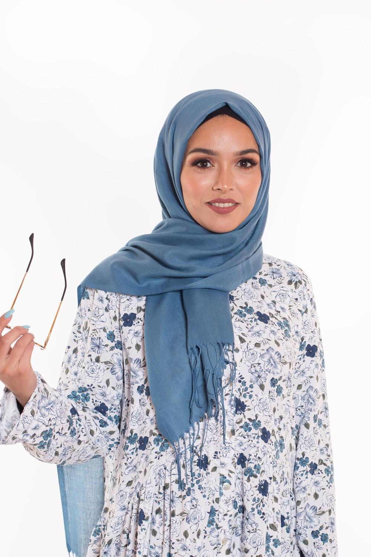 Pashmina coton été bleu pétrole