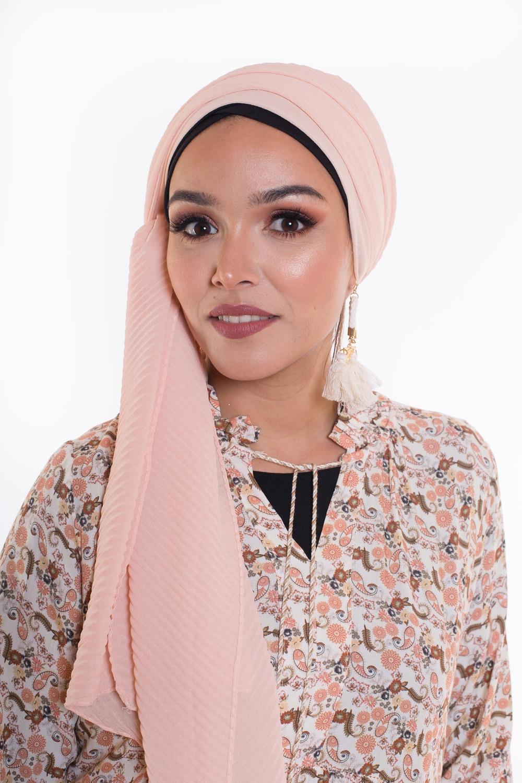 Hijab mousseline gauffré nude saumon