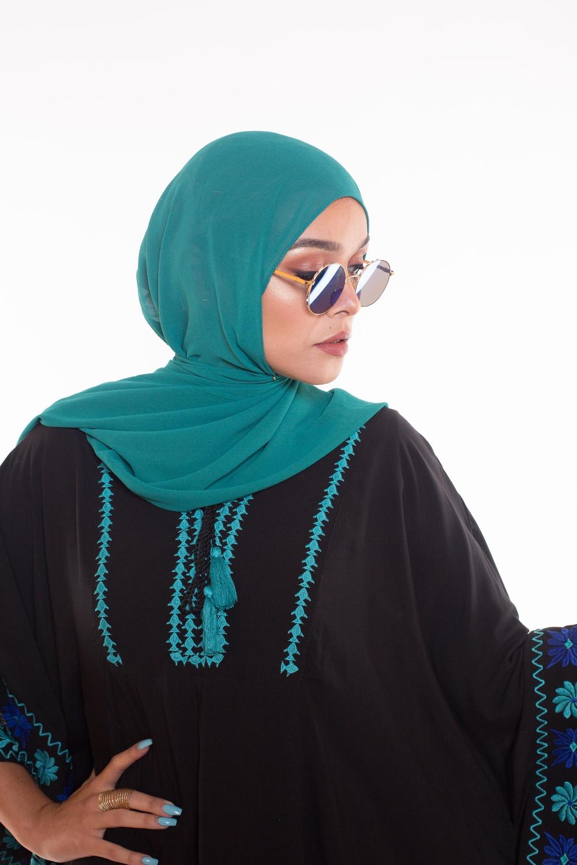 Hijab Mousseline vert saphir