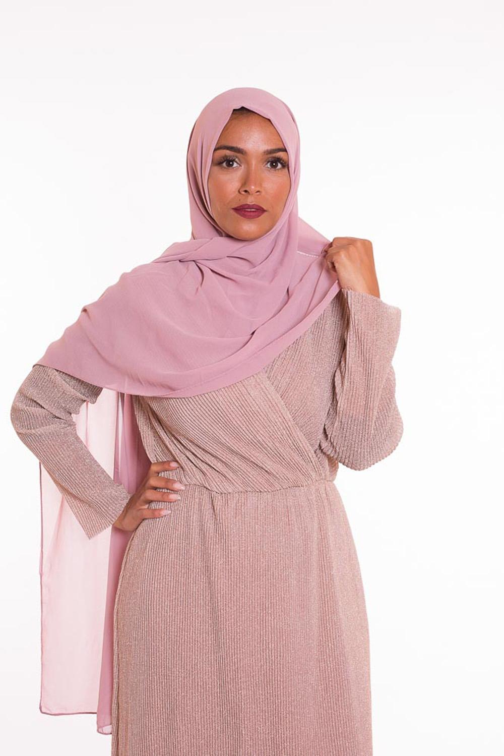 hijab xxl mousseline mauve