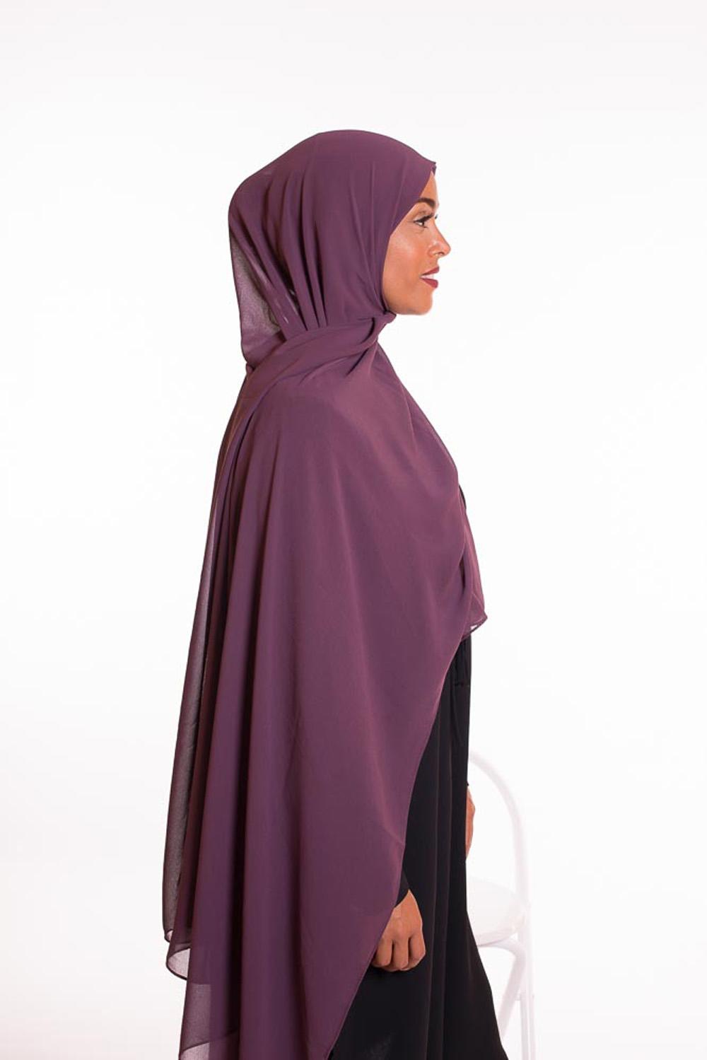 hijab xxl mousseline aubergine
