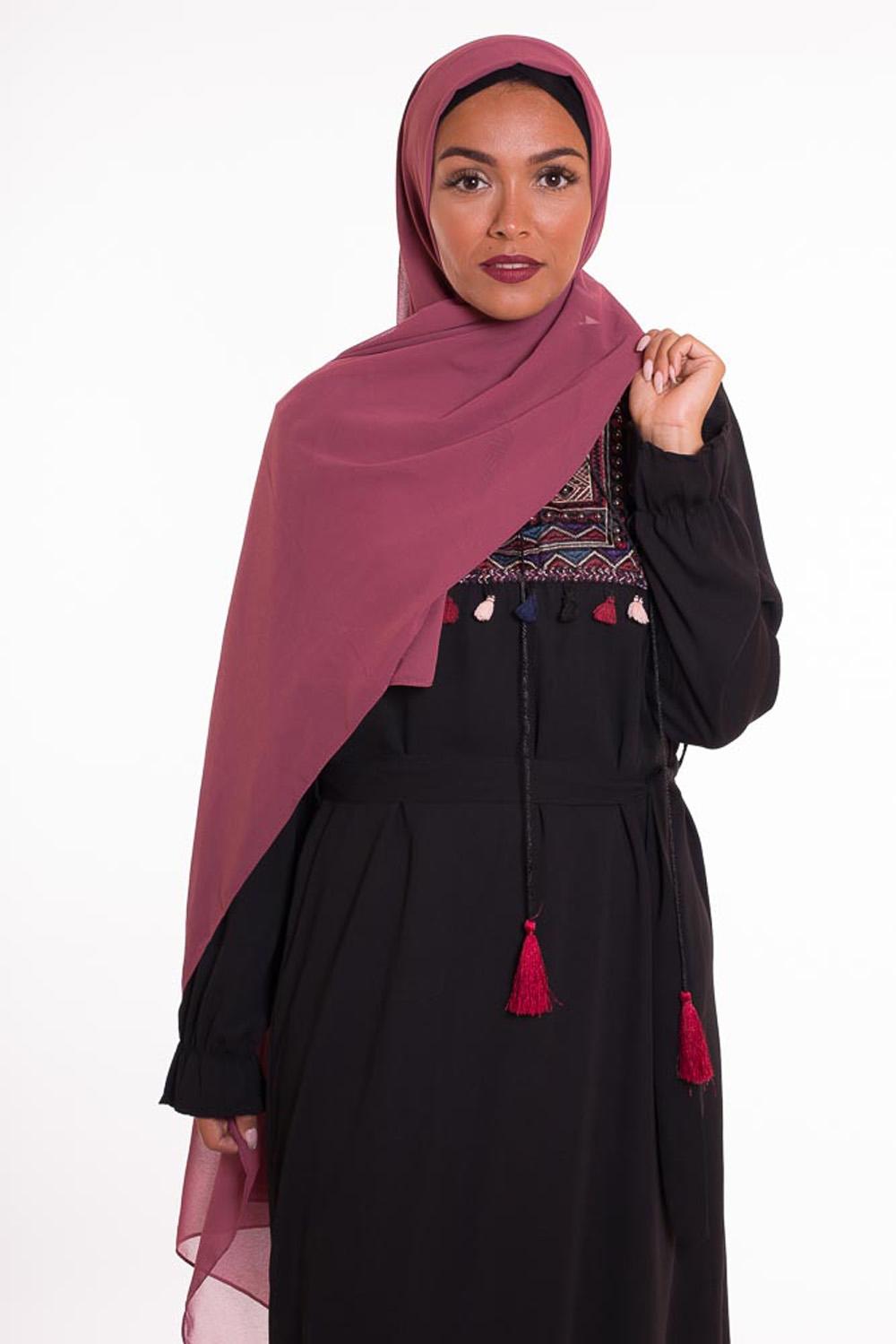 hijab xxl mousseline prune