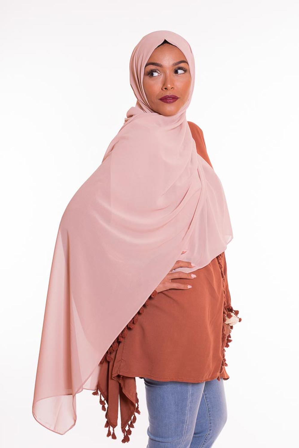 hijab xxl mousseline beige rosé
