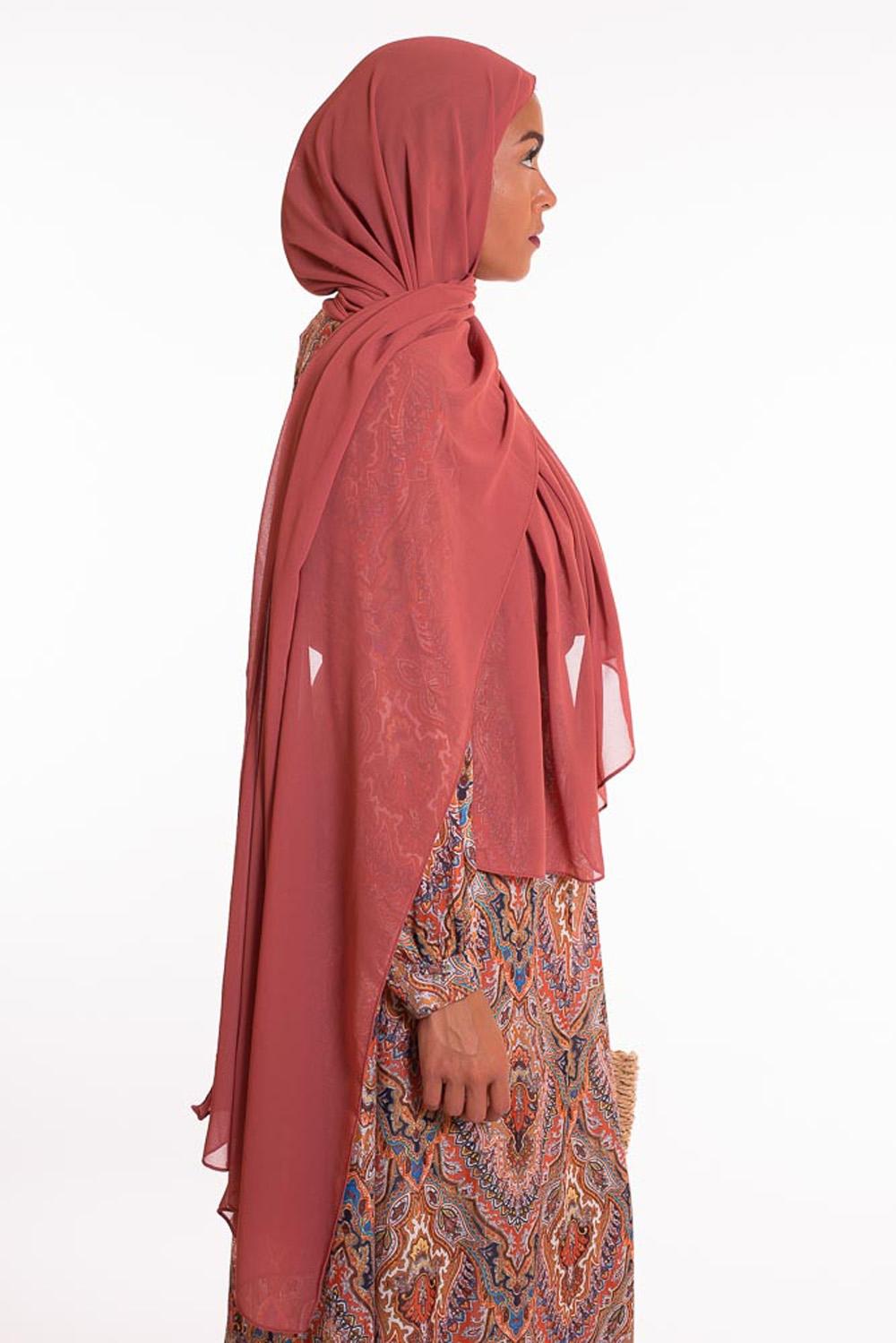 hijab xxl mousseline brique