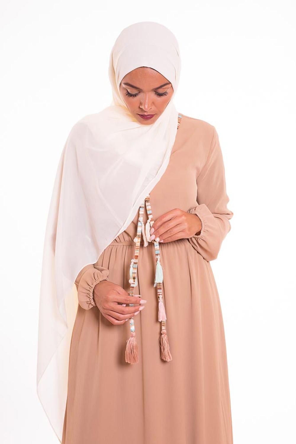 hijab xxl mousseline écru
