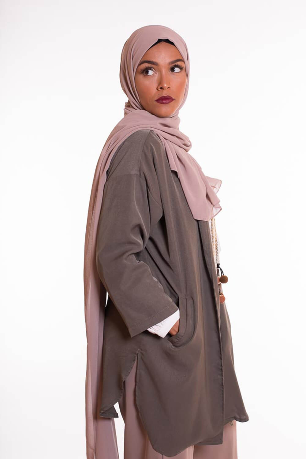 hijab xxl mousseline taupe clair