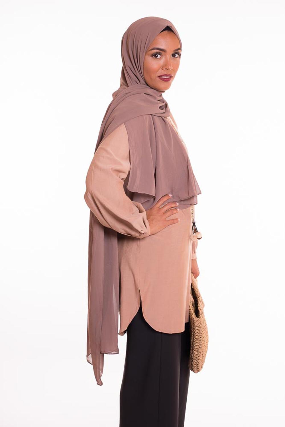 hijab xxl mousseline taupe foncé
